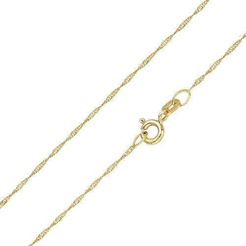 MATERIA Halskette 585 Gold Kette Frauen Mädchen Singapurkette 45 50cm diamantiert Made in Germany #K87_B4, Länge Halskette:50 cm