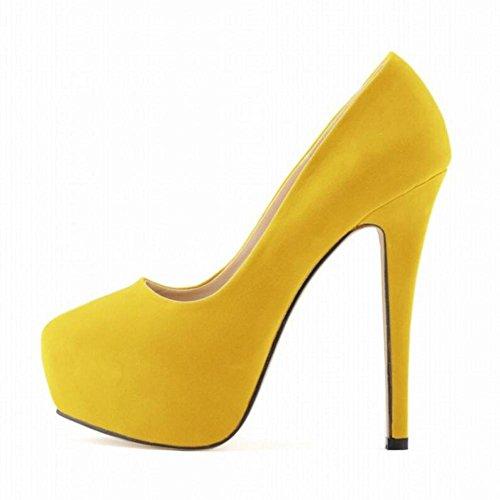 L@YC Donne Tacchi alti Nightclub Ultra-Elegante Piedi Sottili Sposa Super Scarpe Piattaforma Impermeabile Yellow