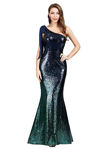 0600661fe9 Ever-Pretty Sirène Robe de Soirée Paillette Dégradation Moulante Femme  Seule Épaule Vert Foncé 38