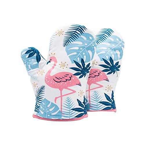 Flamingo Guantes Hornear Resistente Al Calor Horno De Microondas Aislamiento Guantes Blanco