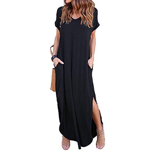 VONDA Damen V-Ausschnitt Kurzarm Strand Sommerkleid langes Abendkleid mit Tasche Black M