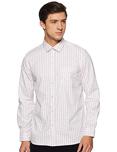 Arrow New York Men's Solid Slim fit Casual Shirt (ANWSH5056_Me. Red 44)