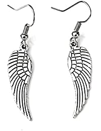 df6c51789165 TOOGOO(R) Par Aretes de pendiente de ala del angel Tibetano Plata 1