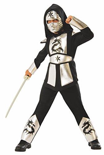 Ninjas Dragon Silver Kostüm L bunt (Dragon Ninja Kostüm Kind)