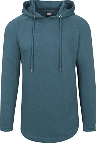 Urban Classics Herren Kapuzenpullover Long Shaped Terry Hoodie, leichter Streetwear Kapuzensweater, lang geschnitten, einfarbig Teal