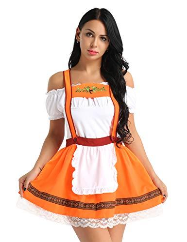 dPois Damen/Mädchen Dirndl Kleid Rock mit Bluse Biergarten Kleid Kostüm Frauen Trachtenkleid Spitze Kleid Dirndlschürze Oktoberfest Kostüm Karneval Fasching Halloween Verkleidung Weiß & Orange M