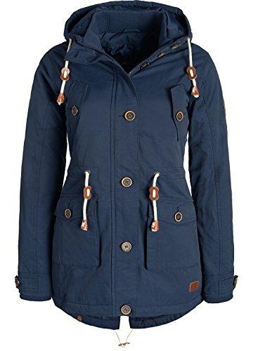 BLEND SHE Constance Damen Parka lange Jacke Winterjacke mit Stehkragen und gefütterter Kapuze aus hochwertigem Elements, Größe:S, Farbe:Navy (70230)