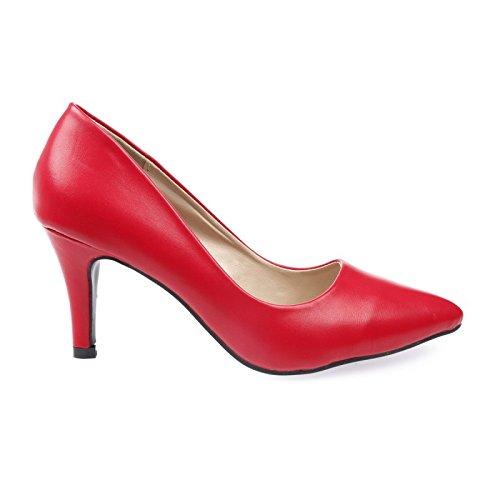 La Modeuse - Escarpins uni bout pointu en simili cuir Rouge