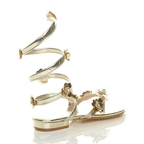 Damen Flach Blume Diamant Umwickeln Zehentrenner Sandalen Flip Flops Größe Gold