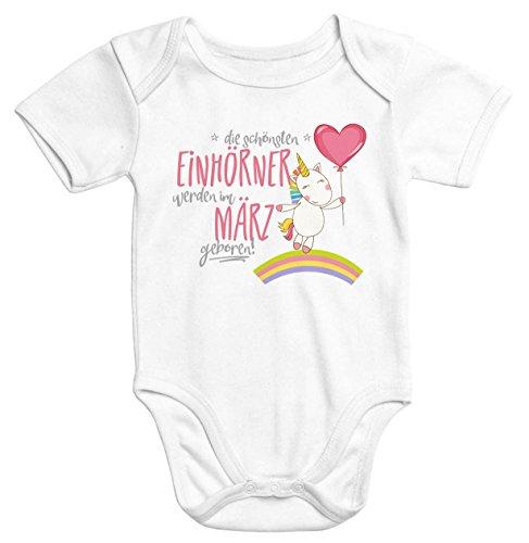 Bio-onesies (Einhorn Baby-Body die schönsten Einhörner werden im März geboren Onesie Geschenk Geburt Bio-Baumwolle Moonworks® weiß 0-3 Monate)