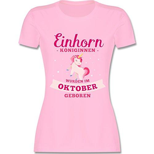 Shirtracer Geburtstag - Einhorn Königinnen Wurden IM Oktober Geboren - Damen T-Shirt Rundhals Rosa