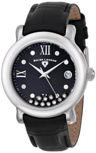 Swiss Legend 22388–01Watch for Women, Leather Strap Black