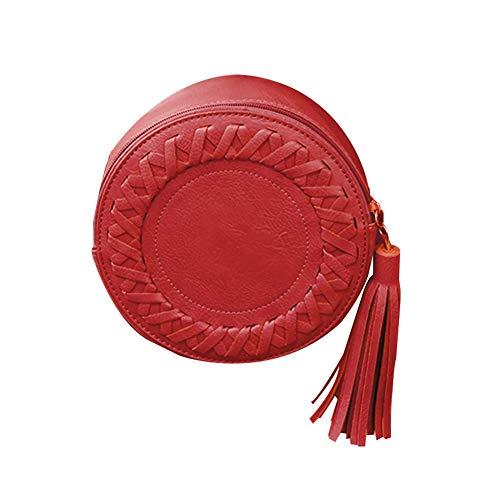 GLOGLOW Frauen-Beutel, Frauen-Runde Form-Weinlese Gesponnene Quaste PU-Leder-Einzelne Schulter-Beutel-Kurier-Tasche(Rot) - Rote Schulter-tasche Handtasche