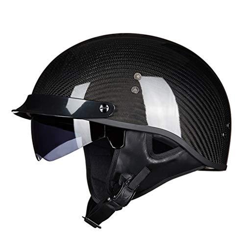 Halley mezza faccia moto casco in fibra di carbonio UV protezione lente moto Caschi rinforzato Shell moto motocross tappi di sicurezza