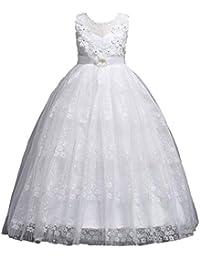 e5218d611 Aclth Vestido de Fiesta Niñas Vestido sin Mangas de Encaje Gasa Flor  Bowknot diseño niños Princesa de Malla Vestidos hinchados para la…