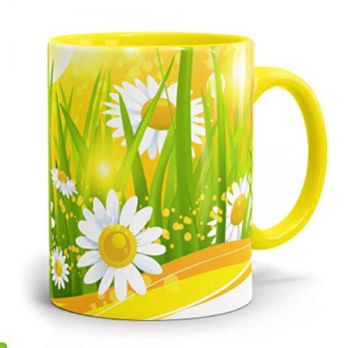 Fototasse selbst gestalten ✓ Hochwertige Keramik-Tasse mit eigenem Spruch, Namen & Bild ✓ Namenstasse, Büroasse, Kaffee-Becher bedrucken lassen - Bedruckte Tasse mit Text, Foto & Sprüchen als Geschenk-Idee (4 hellgelb (innen-Henkel))