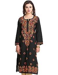c05f3df017 ADA Hand Embroidered Lucknow Chikan Regular Wear Cotton Kurti Kurta  (A188048_Black)