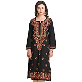 ADA Hand Embroidered Lucknow Chikan Regular Wear Cotton Kurti Kurta (A188048_Black)