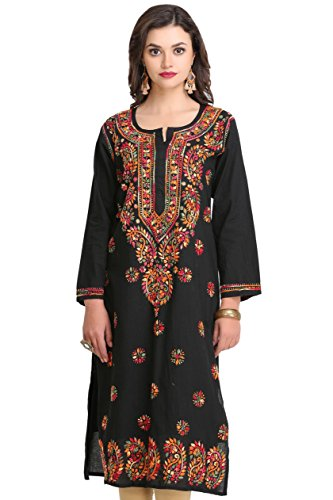 ADA Women's Cotton Black Kurta (3Xl188048_Xxx-Large)