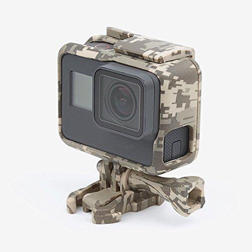 Shoot® Camouflage Duro Custodia protettiva cornice Mount gomma Case Cover Frame per GoPro Hero 5fotocamera sportiva deserto Grigio (Campo Grigio)