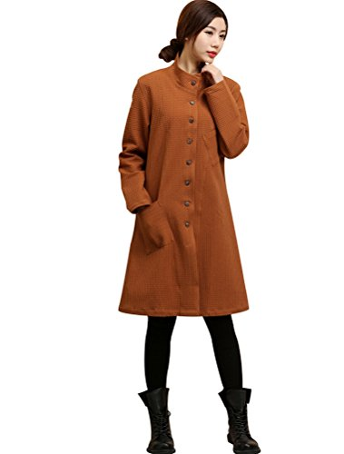 MatchLife Femme Dames Grille Button Poches Trench Manteau Brun
