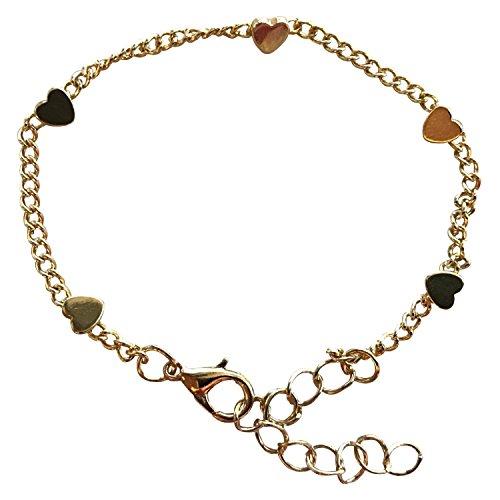 Kleine Gold Armband (Herzarmaband; Armband mit Herzchen - Gold, Verstellbare Größe - Kostenfreie Geschenkverpackung im Edelweiss Design)
