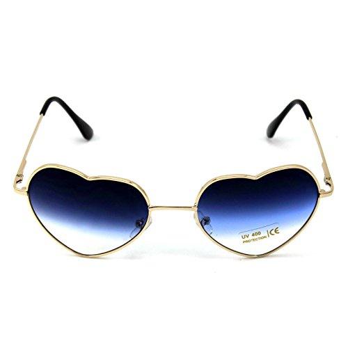 1024 Brille (DDU(TM) 1 Stück Blau Damen Metall Sonnenbrillen Nettes Herz-Form-Design Objektiv Outdoor Brillen)