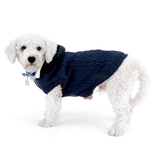 zunea Pullover Mantel für kleine Hunde Classic Fleece gefüttert mit Kapuze Kabel Strick Weich Warm Weihnachten Teetasse Yorkie Chihuahua Kleidung Outfits Apparel - Lange Kabel Pullover