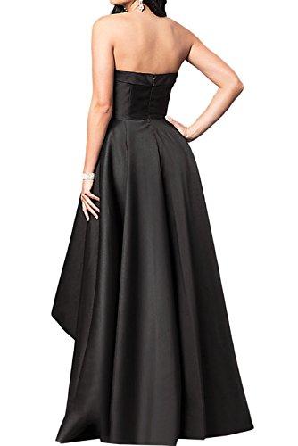 Ivydressing Damen Einfach Satin Traegerlos Abendkleider Hi-Lo Festkleid Ballkleid Partykleider Schokolade