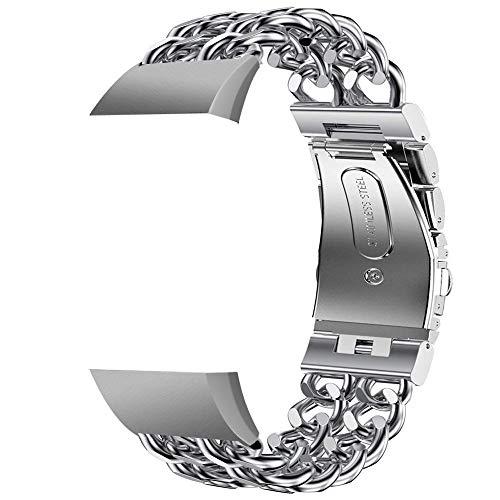 Die besten Geschenke von Valentine !!! Beisoug Edelstahl zweireihig Cowboy Kette Metall Uhrenarmband für Fitbit Charge 3