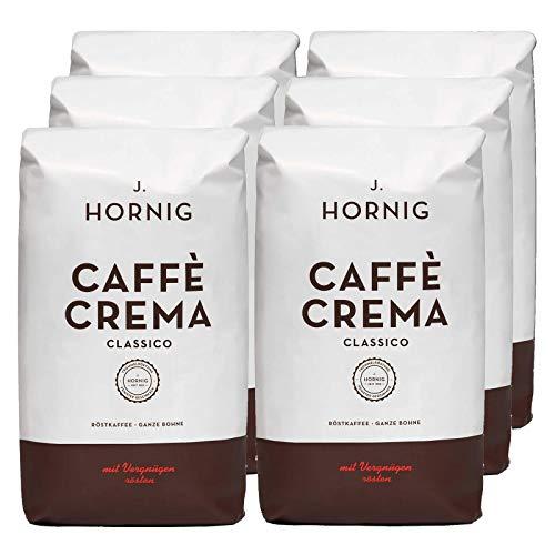 J. Hornig Kaffeebohnen Espresso, Caffè Crema Classico, Großpackung 6x1kg, schokoladiges & nussiges Aroma, für Vollautomaten, Siebträgermaschine oder Espressokocher, ganze Bohnen
