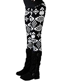 Tongshi Casual Lady Lady Skinny Imprimir Stretchy Jegging Pantalones Slim Leggings (Negro, L)