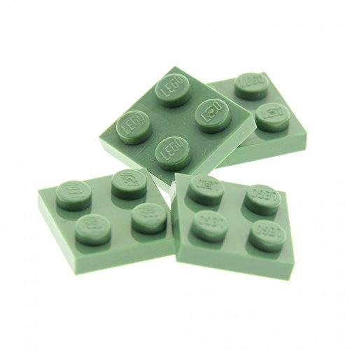 4 x Lego System Bau Stein Sand grün 2x2 Platte Basis Basic Brick für Set Star Wars 4730 4714 3450 7194 3022 94148
