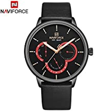 Naviforce Men's Black Dial Genuine Leather Analogue Classic Watch - NF3011