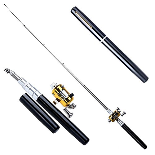 Caidi Portable Pocket Pen Shape Aluminum Alloy Fishing Rod Pole Reel Combos geeignet für den Anfänger (black)