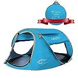 ZOMAKE Plegable Tienda de Playa para 3-4 Personas, Portatil Pop Up Tienda de Playa para Bebé Protección Solar Anti UV 50+(Azul Claro)