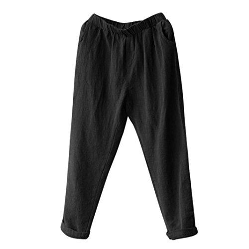 DAYLIN Pantalones Harem Lino Mujer Casual Suelto Pantalones