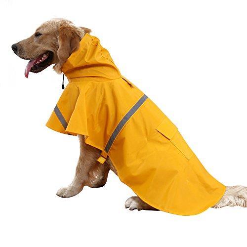 Kismaple Haustier Hund Regenmantel Leichtes Tuch mit reflektierenden Sicherheitsstreifen Hund Regenmantel für große / mittlere / kleine Hund Jacke (S/M(Chest:46-51cm,Neck:31-35cm), Orange)