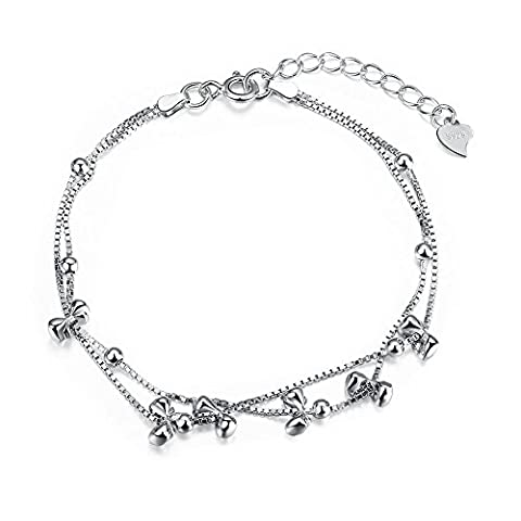 NYKKOLA 925 Sterling Silver Bow Tie and Beads Charm Bracelet Double Layered Box Chain Gift for
