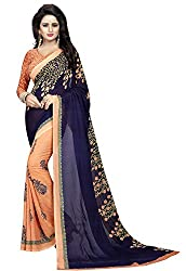 Ishin Womens Faux Georgette Saree With Blouse Piece (Swrya-Dd-Plantnavy_Beige & Navy Blue)