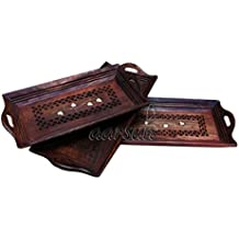 Aarsun Woods Designer Wooden Hand Carved Coffee,Tea Tray Set, 15x6-inch, 13x6-inch, 11x6-inch(Brown) - Set of 3