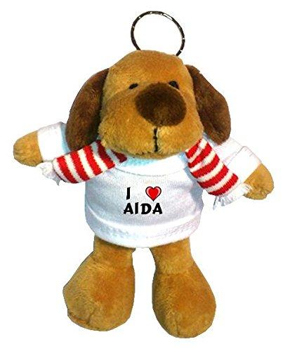 Preisvergleich Produktbild Plüsch Hündchen Schlüsselhalter mit T-shirt mit Aufschrift Ich liebe Aida (Vorname/Zuname/Spitzname)