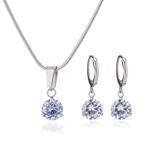 ® Damen Schmuckset Halskette mit Ohrringen in Silber, Anhänger - Set besetzt mit Zirkonia (Zirkonia rund)