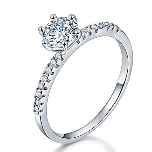 Jewels Galaxy Exclusive Luxuria Edition AAA American Diamond Splendid Platinum Plated Ring For Women/Girls