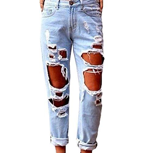 Scothen Damen Jeans Stretch Hose zerrissen High Waist Jeanshose Skinny Hochbund Hose Jeanshose Zerrissen Ripped Hose hohe Taille Stretch Skinny Bleistifthose Leggings Ladies Cutted Knee Leggings