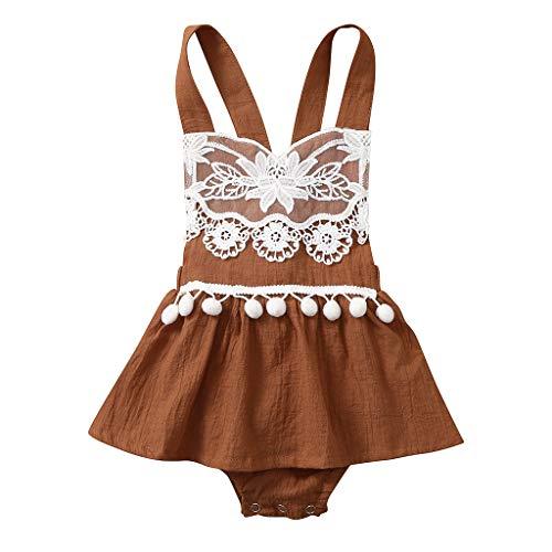 Generic JERFER Softshell Overall Kleinkind Floral Backless Lace Tassel Tops Bodysuit Strampler Kleidung