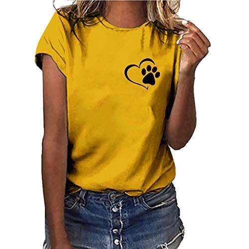 Ears Frauen Sommer Bluse Mädchen Druck T-Shirt Lässige Strickjacke Kurzarm Beiläufig T Shirt Retro Bluse Spitze Tops Turnhalle Sport Shirt Dehnbares T-Stück Sweatshirt Tunika (L,  Gelb) -