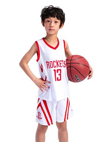 Kinder Madchen NBA Houston Rockets 13# Harden Retro Basketball Shorts Sommer Trikots Basketballuniform Top & Shorts Basketball Anzug (Jordan Retro Für 13 Kinder)