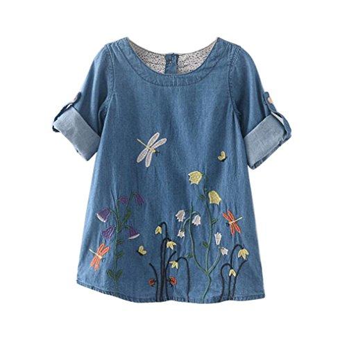 Vovotrade® Sommer Denim Kleinkind Kinder Baby Mädchen Kleidung Blume Stickerei Denim Prinzessin Kleider (Größe: 5/6 Jahre Alt) -