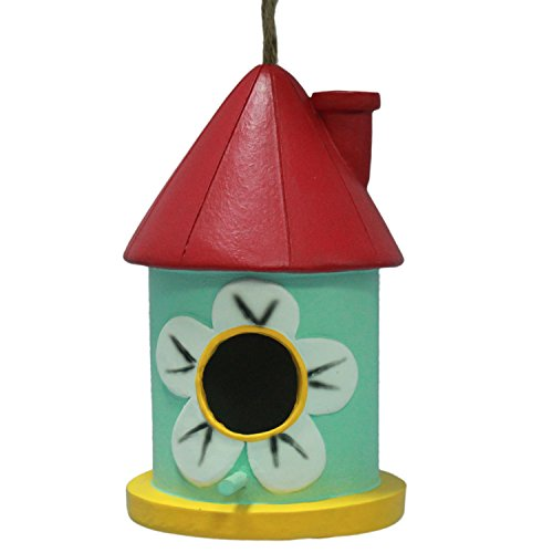 Wildbird Care Pet Supplies Resin Bird House With Red Funnel BRH05 (Red & Pale Green) - Hummingbird Feeder Ant Moat